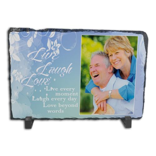 Personalised Live Laugh Love Rock Slate Photo Frame - Rectangle Large